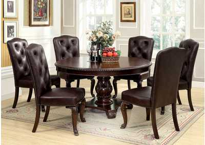 Bellagio Round Dining Table w/6 Leatherette Side Chairs
