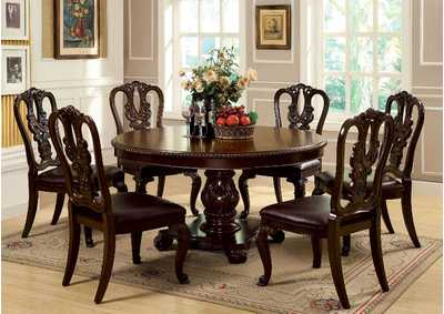 Bellagio Round Dining Table w/6 Wooden Side Chairs