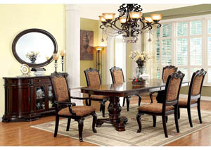 Bellagio Brown Cherry Extension Dining Table w/4 Side Chairs & 2 Arm Chairs