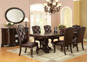 Bellagio Extension Dining Table w/6 Leatherette Side Chairs