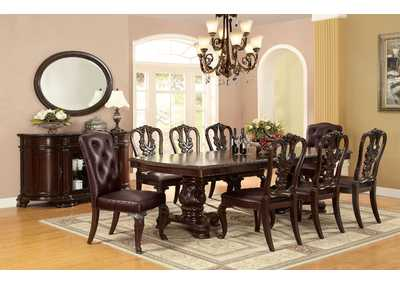 Bellagio Brown Cherry Extenstion Dining Table w/6 Wooden Side Chairs & 2 Leatherette Side Chairs