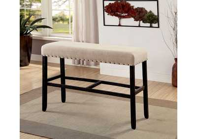 Sania II Antique Black/Beige Bar Height Bench