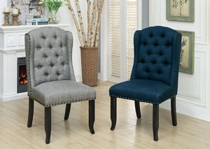 Sania I Antique Black/Blue Upholstered Side Chair (2/Box)
