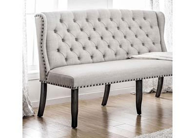 Sania I Antique Black/Beige 3-Seater Loveseat Bench