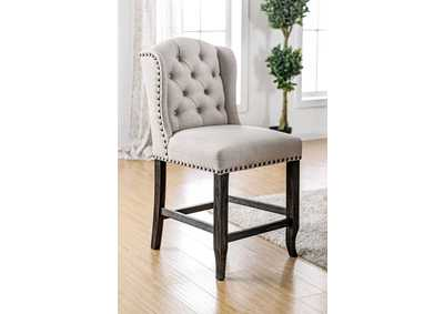 Image for Sania III Antique Black/Beige Counter Height Wingback Chair (Set of 2)