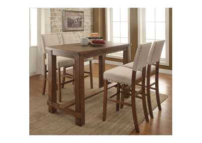 Sania Rustic Oak Counter Height Table w/4 Counter Height Chairs