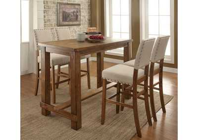 Sania II Rustic Oak Counter Height Table w/4 Counter Height Chairs