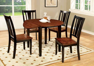Dover Black & Cherry Round Drop Leaf Dining Table w/4 Side Chairs