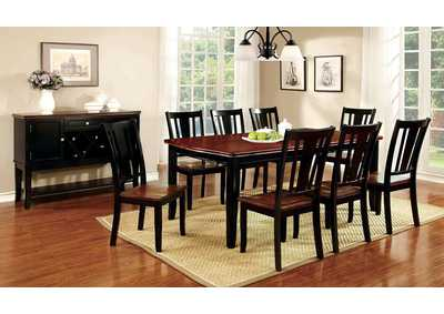 Dover Black & Cherry Extension Dining Table w/6 Side Chairs