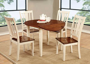 Dover ll White & Cherry Round Drop Leaf Dining Table w/4 Side Chairs