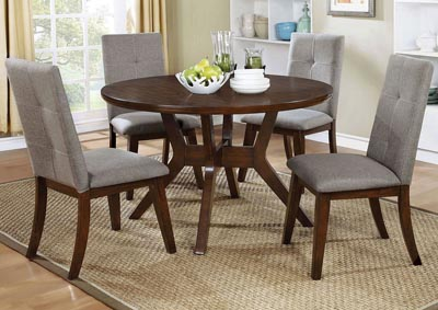 Abelone Walnut Round Dining Table
