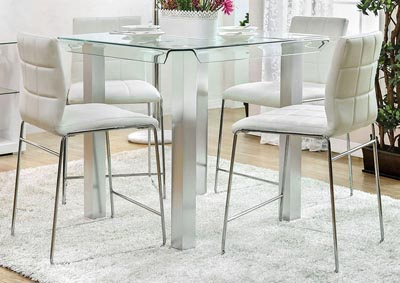 Richfield II Silver/Chrome Glass Counter Height Table