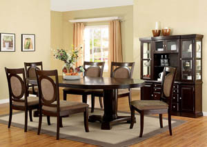 Evelyn Walnut Extension Dining Table w/4 Side Chairs