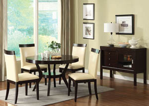 Downtown I Espresso Round Dining Table w/4 Espresso/Ivory Side Chairs