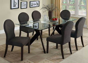 Grand View I Espresso Glass Top Dining Table w/6 Espresso Side Chairs