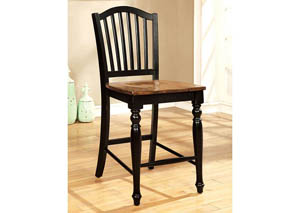 Mayville II Black/Antique Oak Counter Height Chair (Set of 2)