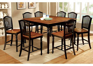 Image for Mayville II Black/Antique Oak Counter Height Table w/8 Counter Height Chairs