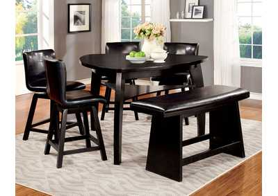 Hurley Black Counter Height Table w/Bench and 4 Counter Height Chairs
