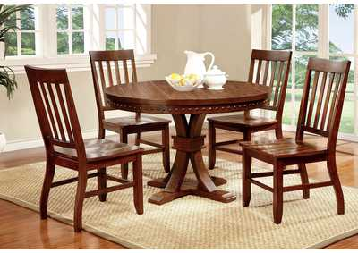 Foster l Dark Oak Round Dining Table w/4 Side Chairs