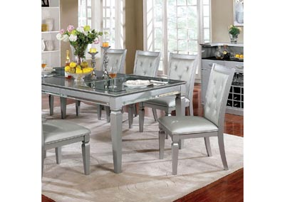 Alena Silver Dining Table w/18