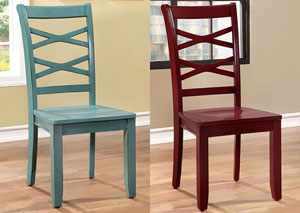 Giselle Red and Blue Cross-Back Side Chair (Set of 2)
