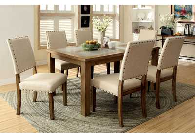 "Image for Melston l 64"" Stone Insert Top Dining Table w/4 Side Chair"