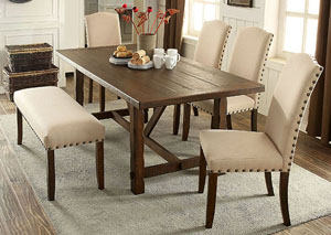 Brentford Rustic Oak Dining Table W/4 Side Chairs