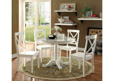 Penelope White Round Table w/Faux Marble Top