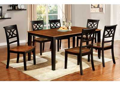 Torrington Black & Cherry Extension Dining Table w/4 Side Chairs