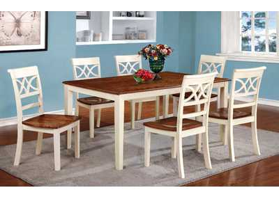 Torrington White & Cherry Extension Dining Table w/4 Side Chairs