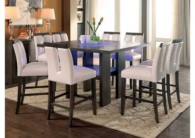 Luminar II Gray Counter Height Table w/6 Chairs