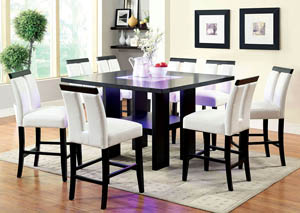 Luminar II Black 8mm Tempered Fog Glass Counter Height Table w/8 Black Counter Height Chairs