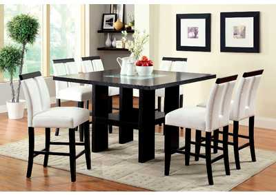 Luminar II Black 8mm Tempered Fog Glass Counter Height Table w/6 Black Counter Height Chairs