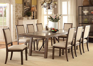 Colette Rustic Oak Dining Table w/6 Side Chair