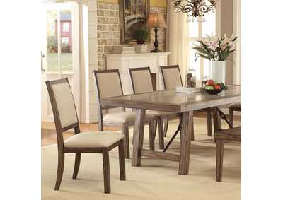 Colette Rustic Oak Dining Table w/6 Side Chairs