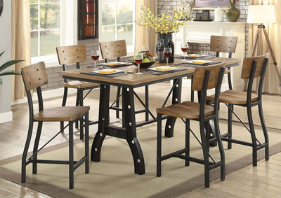 Kirstin Rustic Oak Counter Height Table