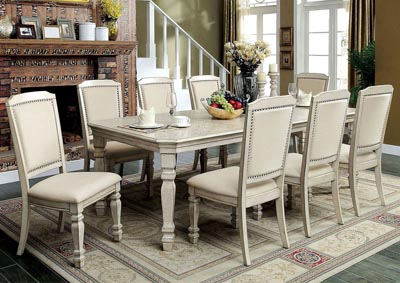 Holcroft Antique White Extension Dining Table w/8 Side Chairs