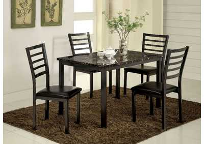 Colman Black Faux Marble Top Dining Table