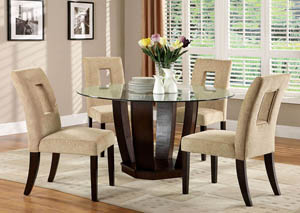West Palm I Espresso Glass Top Round Dining Table w/4 Side Chairs