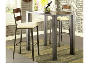 Jazlyn II Weathered Oak Bar Table w/2 Bar Height Chairs