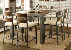 Jazlyn II Weathered Oak Counter Height Table w/8 Counter Height Chairs