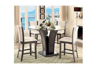 Manhattan III Gray Round Glass-Top Counter Height Table w/4 Counter Height Chairs