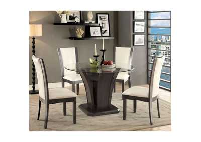 Manhattan Gray Round Glass-Top Dining Table w/4 Side Chairs