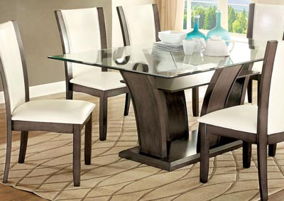 Manhattan Gray Dining Table w/Glass Top