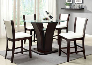Manhattan lll Round Glass Top Counter Height Table w/4 Counter Height Chairs