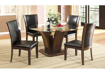 Manhattan l Round Glass Top Dining Table w/4 Side Chairs