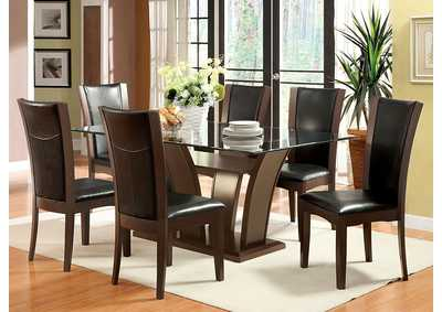 Manhattan l Rectangle Glass Top Dining Table w/6 Side Chairs