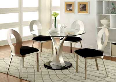 Valo Silver/Black Stainless Steel Glass Top Round Dining Table w/4 Side Chairs