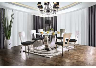 Nova Silver and Black Dining Table w/4 Side Chairs