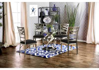 Roxo Silver and Black Side Chair (Set of 2)